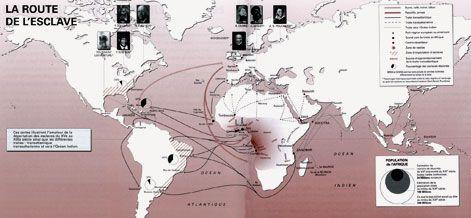 Carte de la route de l'esclave - UNESCO: