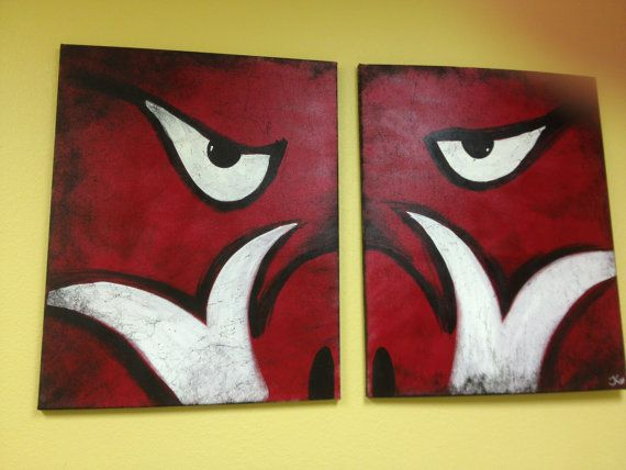 Arkansas Razorback Canvas Painting by SimplyShibby on Etsy, $85.00