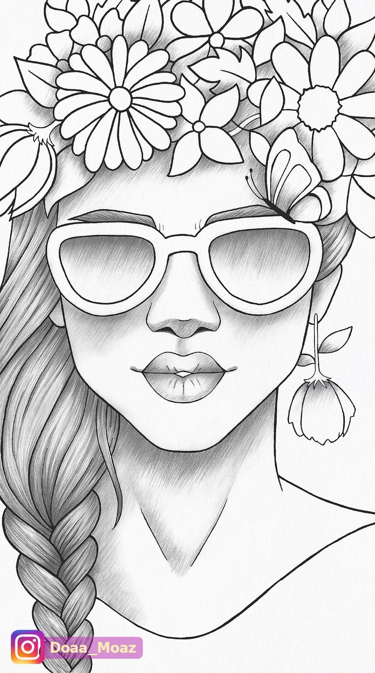 Adult Coloring Page Girl Portrait Colouring Sheet Flower