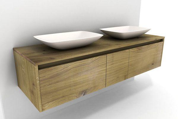 Waschbeckenschrank Holz Eiche Massiv Mit Becken Und 3 Schubladen