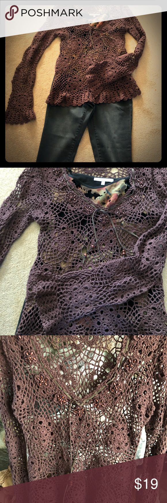 Crochet chocolate color sweater , long bell sleeve Only few times worn this pretty crochet sweater, has around neckline detailed embellishments! The nice tank top underneath is also for sale if you want to buy it together. Got a lot off compliments wearing it, now it don't fit me anymore!  Offers welcome 😘😍 Smoke free, pet free home! I cut the label out of the side, it looked ugly. , lol Say What Sweaters V-Necks