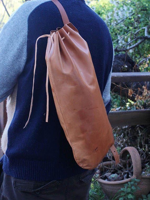 Bolso de cuero para hombre  mochila de cuero natural