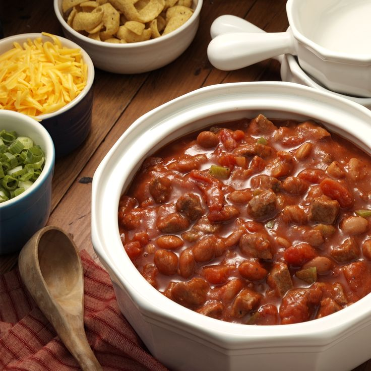 Chunks of tender beef and beans in a spicy and hearty tomato-based chili made in less than 30 minutes