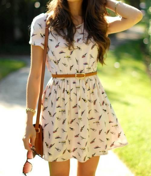 Casual & Girly. Bird Printed Dress & Brown Accessories.