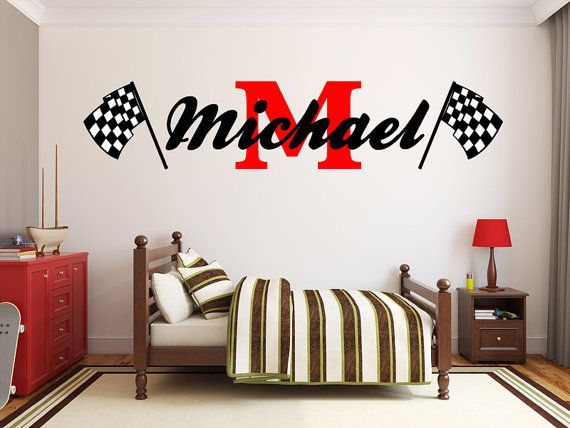 Hey, I found this really awesome Etsy listing at https://www.etsy.com/listing/203026784/boys-name-racing-monogram-wall-decal
