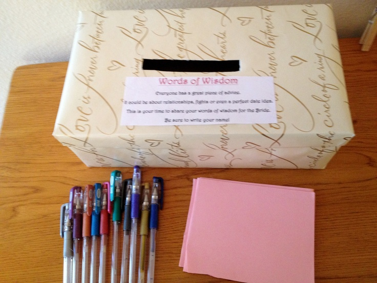 Bridal Shower idea. Advice Box for the Bride to Be. Wrap a shoe box with cute wrapping paper.