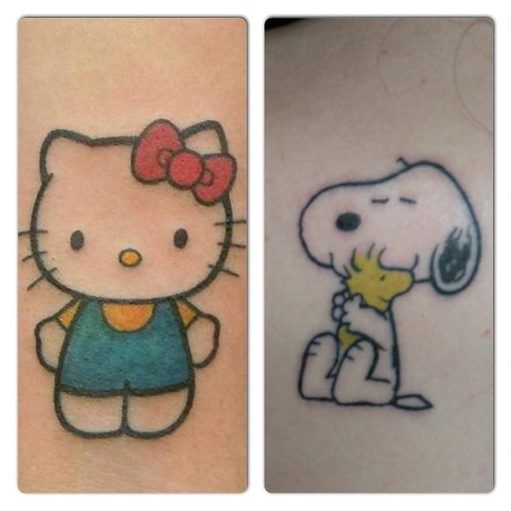 Super cute!!  Hello Kitty & Snoopy Tattoo