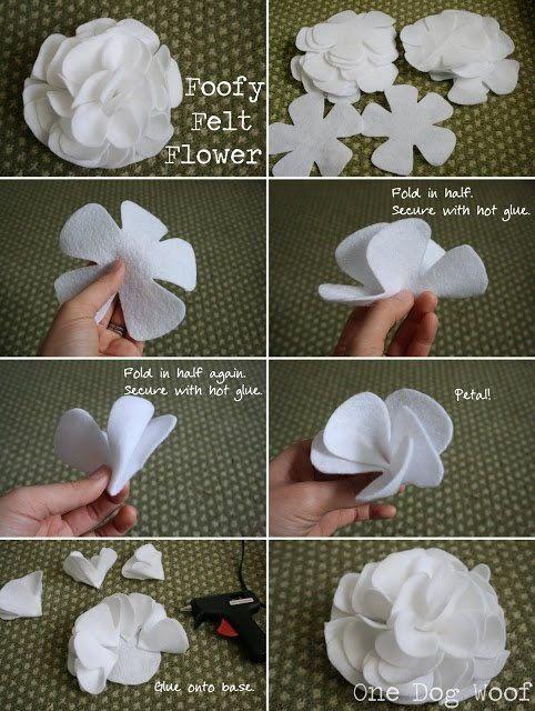 DIY Foofy fieltro flor DIY Proyectos
