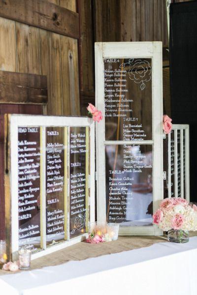 Glass window signs: http://www.stylemepretty.com/ohio-weddings/akron/2015/03/18/rustic-blush-gray-farm-wedding/ | Photography: Studio Elle - http://studioellephotos.com/