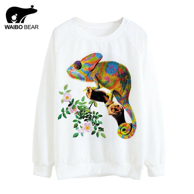 Women Autumn Sweatshirts Colorful Lizard Pattern Print Floral Thin Hoodies Long Sleeve Hoody Women Casual Tops WAIBO BEAR
