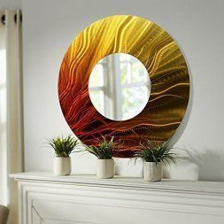 Orange home wall art décor is bold, vivid and fun.  Orange wall art is typically bolder which means it is eye catching which makes this a great conversation piece for a wall in your home.  Orange home décor makes your home feel warm and inviting not to mention fun and friendly.   on Allen Metal Art Abstract Metal Wall Mirror,  Orange home wall art decor