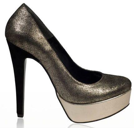 Pantofi eleganti din piele naturala, aurii, cu platforma si toc inalt - nuanta inchisa