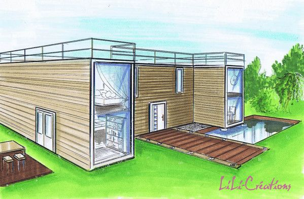 Container house 38 container houses pinterest for Projet maison container