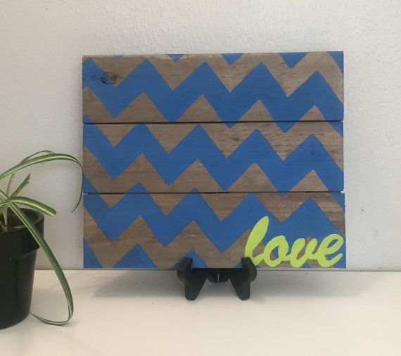 Chevron Love Pallet Sign Hand Painted Blue by AmbersWoodenBoutique