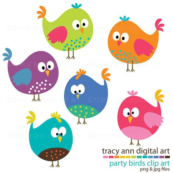 NEW  Clip Art   Party Birds by TracyAnnDigitalArt on Etsy, $5.95