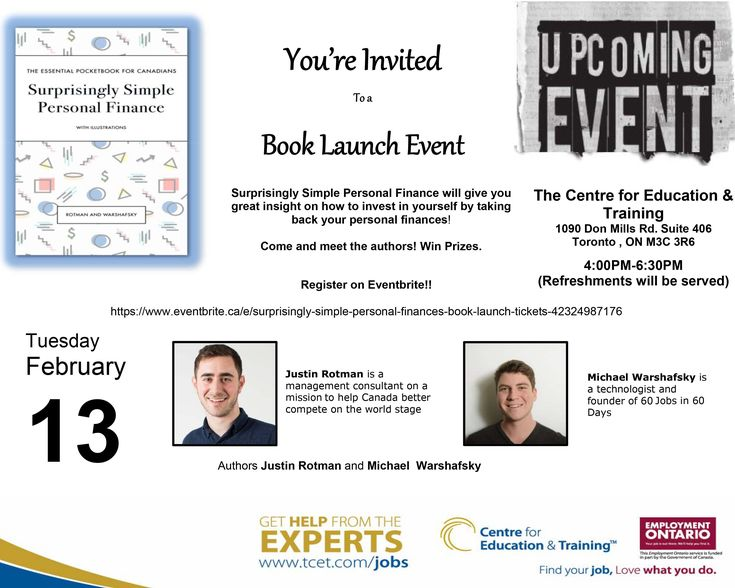 """#TCET_DonMills invites you to a special book launch event! """"Surprisingly Simple Personal Finance"""" will give you great insight on how to invest in yourself by taking back your personal finances! Meet the authors, Win Prizes! Register at: https://www.eventbrite.ca/e/surprisingly-simple-personal-finances-book-launch-tickets-42324987176 #money #education"""