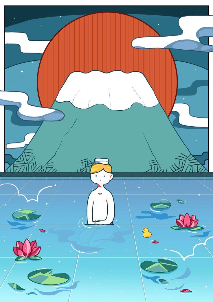 イラスト ポスター 温泉 外国人向け illustration design