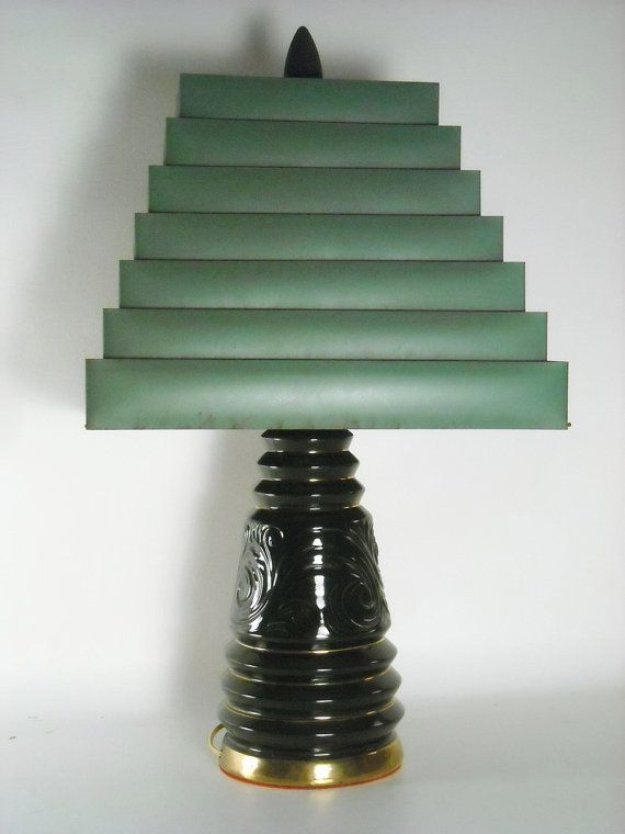 Mid Century Lamp Ceramic Black Venetian Metal By