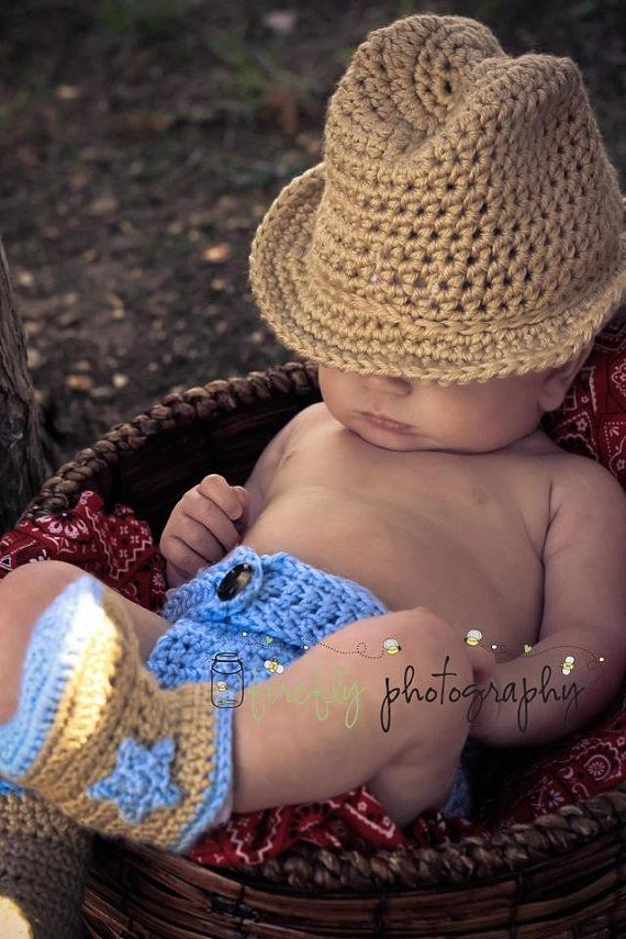 Crochet cowboy or cowgirl hat, diaper cover, and boots made to order on Etsy, $45.00