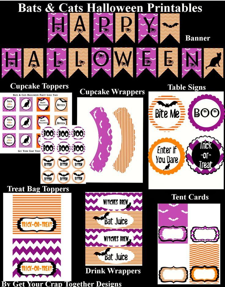 Bats and Cats Free Halloween Party Printables #halloween - print halloween decorations