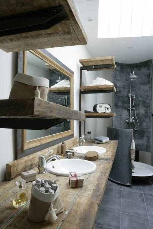 Love this bathroom I saw on Tumblr - it's more of that rustic contemporary look I really like.