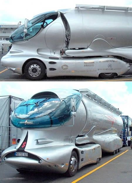 """Colani's Concept Truck • """"These awesome trucks have been made on a Mercedes platform and are the sexiest trucks on the planet. A Swiss-German industrial designer named Luigi Colani has crafted them."""""""