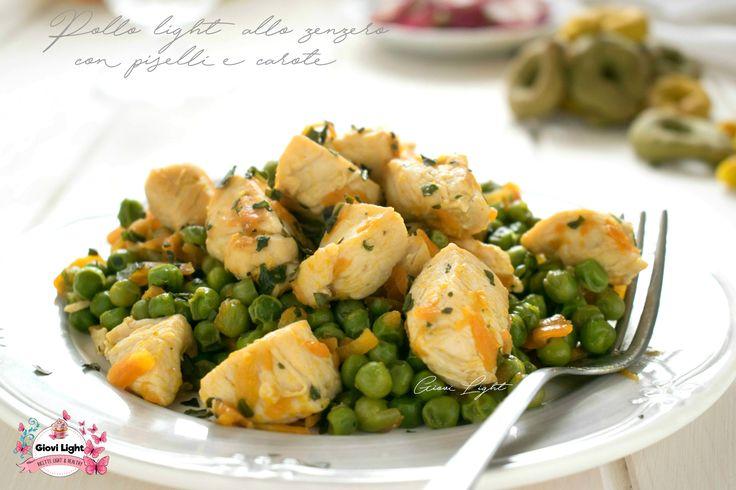 Pollo light allo zenzero con piselli e carote
