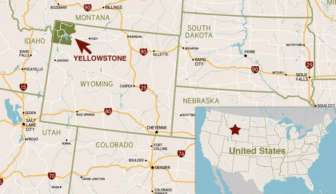 Map Location of Yellowstone National Park