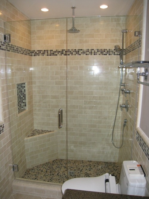Subway Tile W Gl Accent River Rock Floor Love This Combo For The Home Pinterest Bathroom Showers And Tiles