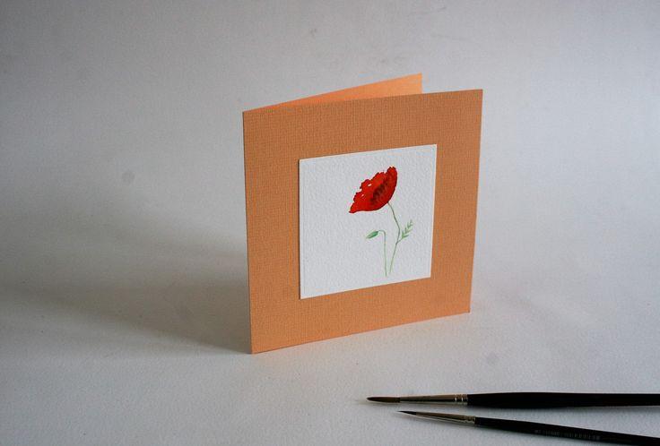 aquarel wenskaart KLAPROOS, blanco, zacht oranje, met bijpassende envelop, afm.: 13 x 13cm