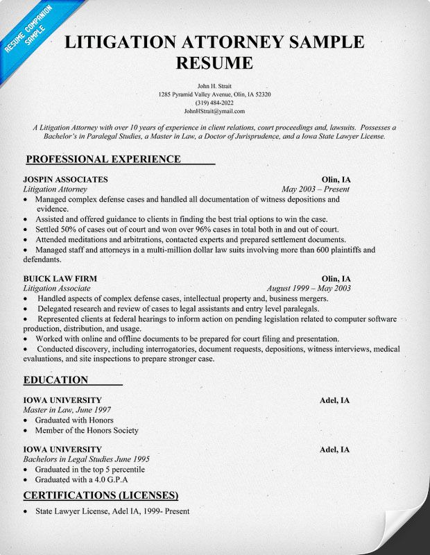 Litigation Attorney Resume Sample resumecompanion – Lawyer Resume