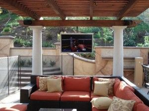 Pergola With Ceiling Mount Outdoor Tv Hellu0027s ...