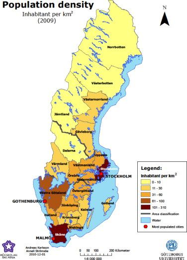 Population density map of Sweden 2009