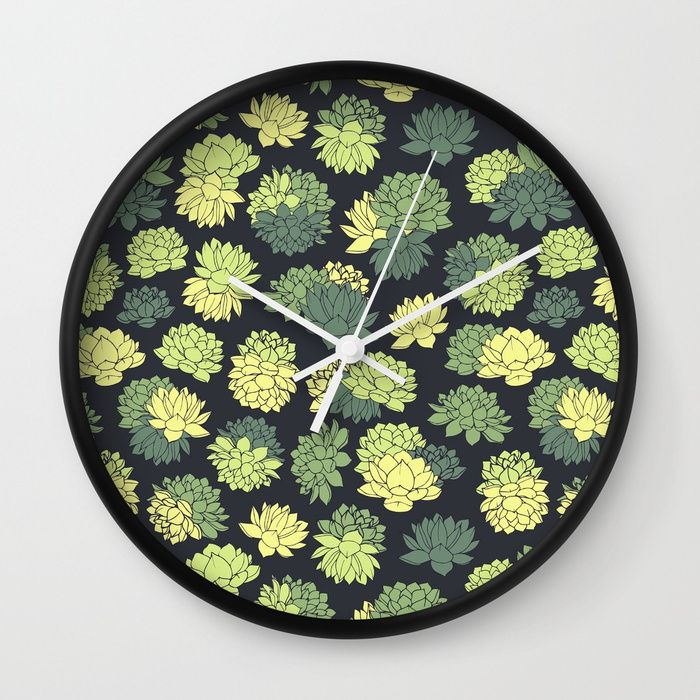 Green Succulents Pattern Wall Clock #faerieshop #tropical #floral #succulents #plants #lotus #pattern #water #lily #flowers #drawing #art #liles #blossom #green #ornament #shopping #walldecor #decoration #decor #home #clocks #buy #buyonline #society6