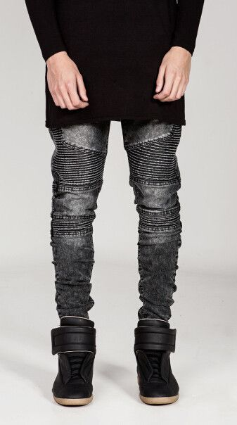 Kanye West style biker jeans with washed lookalike for retro joggers. Item Type: Jeans Gender: Men Material: Denim,Acetate,Cotton,Spandex Fit Type: Slim Waist Type: Mid Fabric Type: Stripe Length: Ful