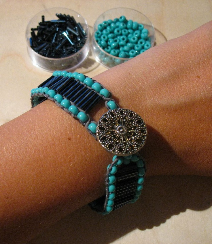 black tube beads and blue beads bracelet. $9
