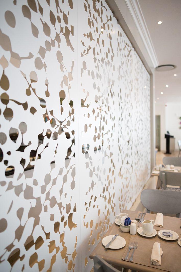 At the Lord Charles Hotel. Lazer Cut Screens. Lazer Cut Panels. Room Dividers. Dividing Screens. Metal Screens. Decorative Screens. Wall Art