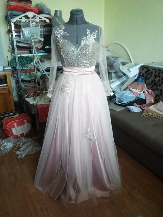 Pink tulle gold sequins white and gold lace flowers