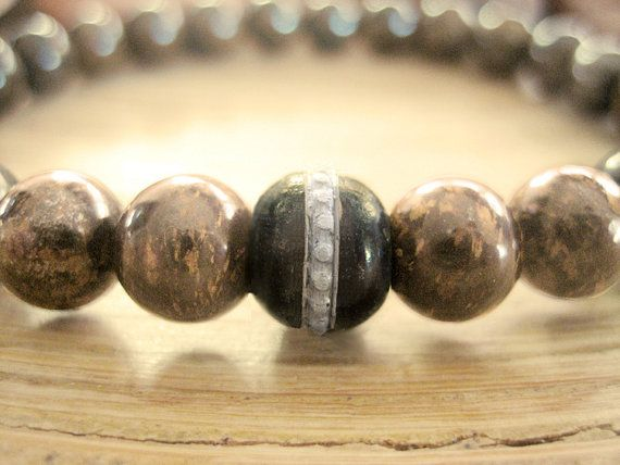 Mens Mala Bead Bracelet - Bronzite Bracelet for Men with Tibetan Prayer Bead, Brown Stone