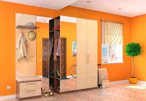 Оранжевый цвет в интерьере прихожей