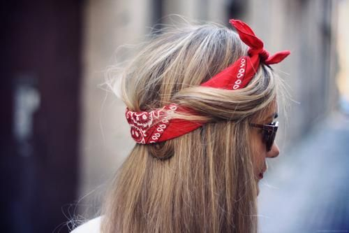 red bandana  want to wear it with my denim shirt (tied) and my black/white maxi skirt