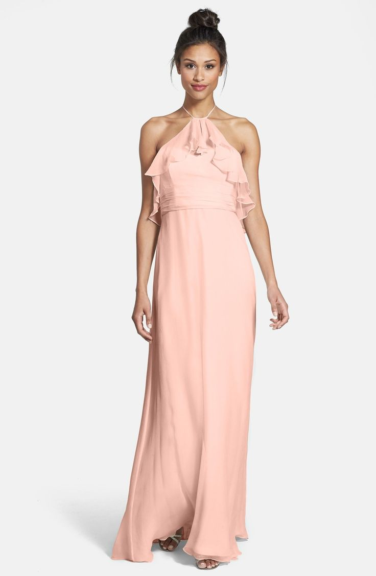 Ruffle Crinkled Silk Chiffon Halter Gown