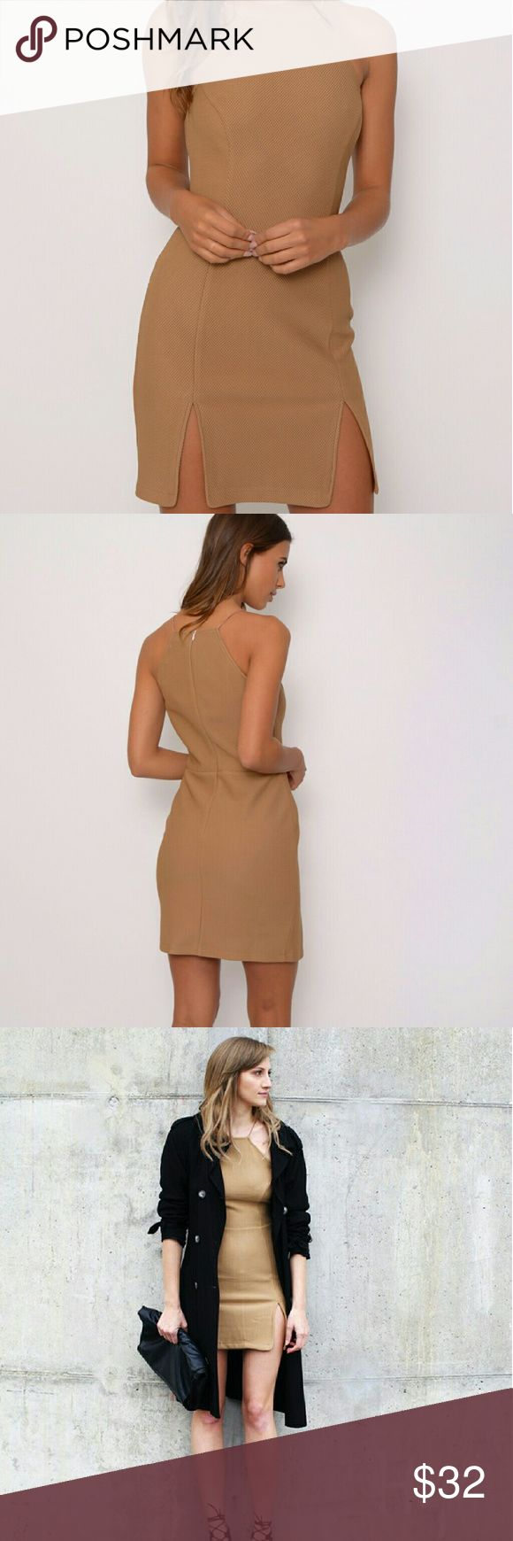Camel Mini Dress A gorgeous re-vamped camel bodycon dress for the new season, with double front split detail. Perfect to wear with high heels, cream clutch bag and add a statement necklace for that extra glam touch. Dresses Mini