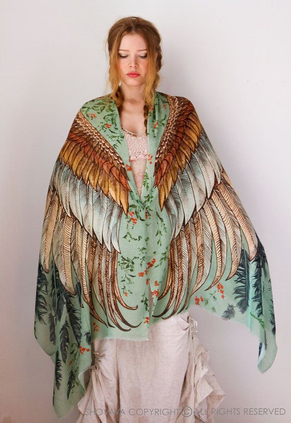 Wings scarf bohemian bird feathers shawl vintage green by Shovava