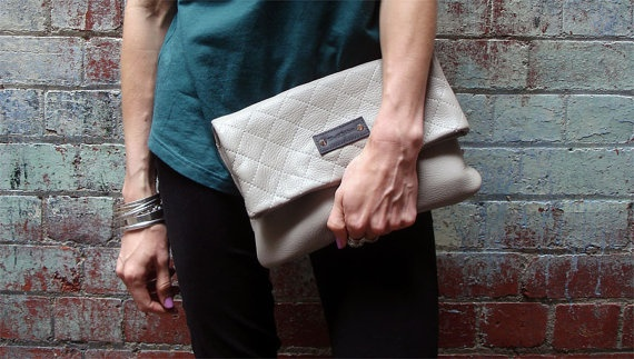 Quilted Leather Clutch in Stone.