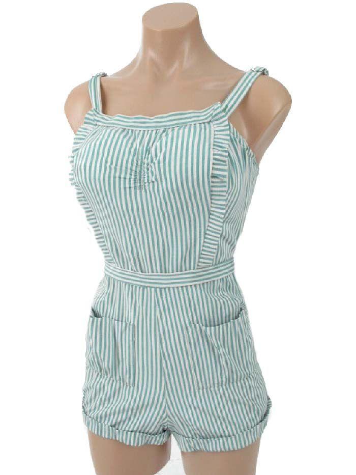 40s 50s Caltex Green Stripe Swimsuit