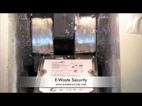 Video of a computer hard drive being shredded.