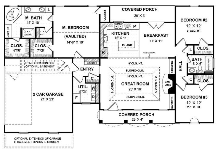 a simple one story house plan. with two master wics, big kitchen