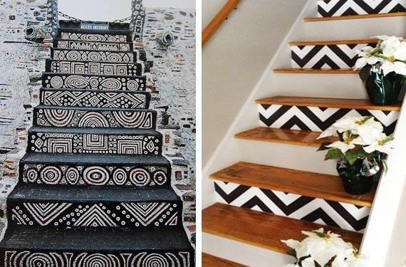 Escaleras pintadas con estilo étnico