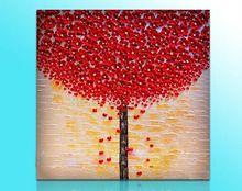 Ücretsiz nakliye, el yapımı Kırmızı Çiçek yağlıboya tuval Aşk Kalp modern ev ofis otel duvar sanatı dekor Hediye(China (Mainland))